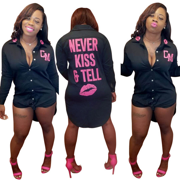 Women Casual Black Shirt Dress Spring Summer Pink Lip Designer Letters Mini Dresses