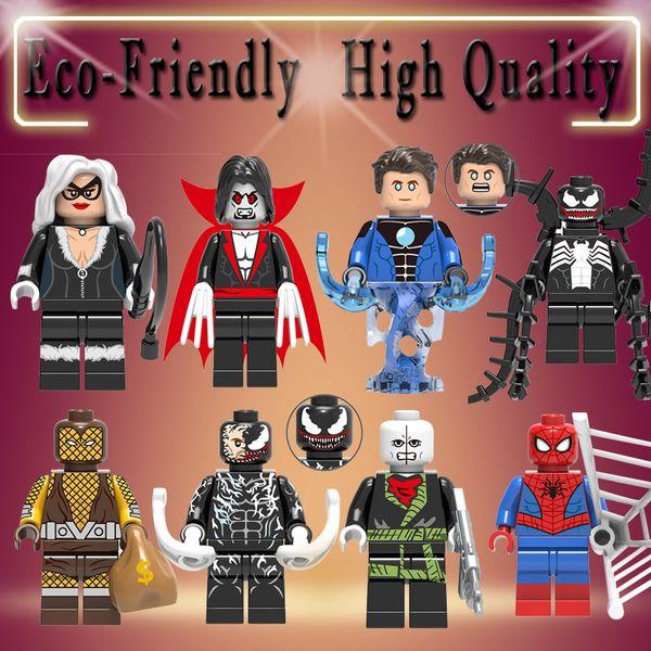 X0220 Marvel Super Heroes Venom Chameleon Morbius the Living Vampire Cat Hydro-Man Shocker Building Blocks Juguetes para niños