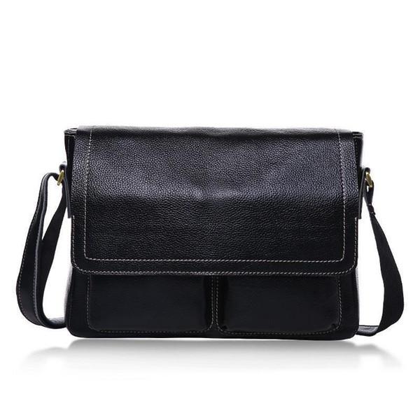 Brand Design Business Men Bag 100% Genuine Leather Crossbody Bags For Men Fashion Male Messenger Bags Shoulder Travel Bag Black