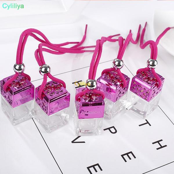 Cubo de la botella de perfume del coche del perfume colgantes retrovisor ornamento ambientador de aire para Aceites Esenciales Difusor Perfume botella de cristal vacía