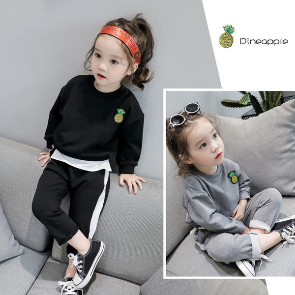 Kids Children Baby Girls Clothing set 2019 Autumn Solid Black T Shirt Pants Sport Suit For Toddler Girl Clothes Outfit Tracksuit