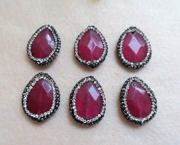 10 peças Natural Rose quartzo Druzy Bead Pave Strass Cristal Conector Spacer Bead Para DIY Fazendo Pulseira colar de Jóias BD25