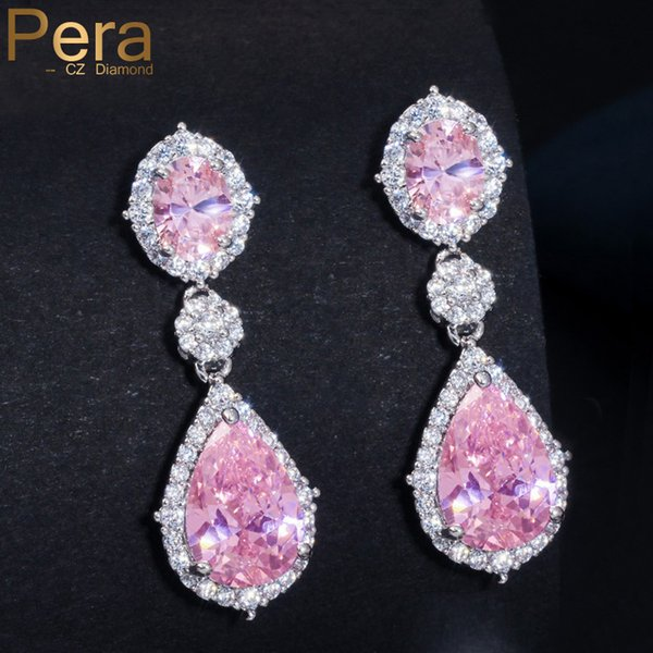 pera sparkling silver color pink cubic zirconia crystal bridal wedding long big teardrop earrings jewelry for brides gift e075