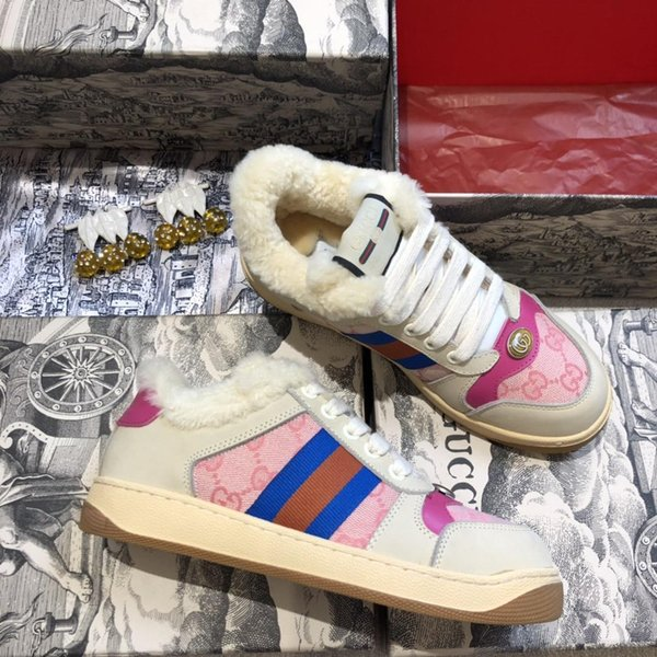 Luxury Shoes New Winter 2019 Classic Style Couple Shoes Leisure Sneakers  Keep Warm Flat Casual Sport Shoes Pink White Shoes Wedges Shoes From