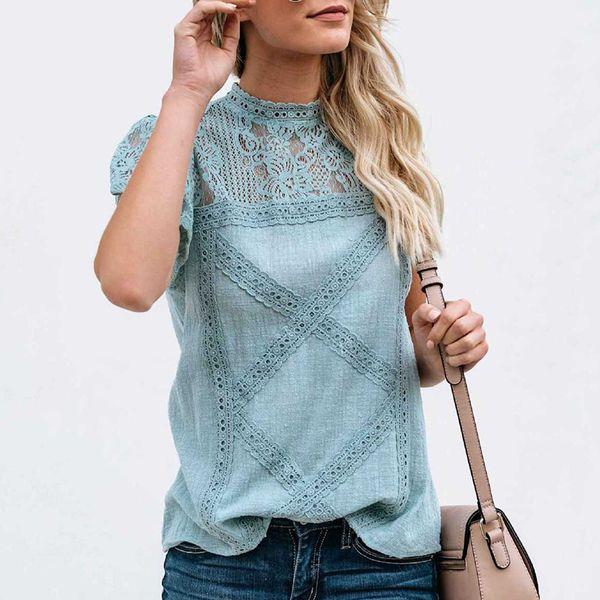 Lace Floral Sleeves Slim Tops Women T Shirt Casual Fashion Female Summer Short Sleeve Round Neck Elegent Feminina Blusas 6Q2608