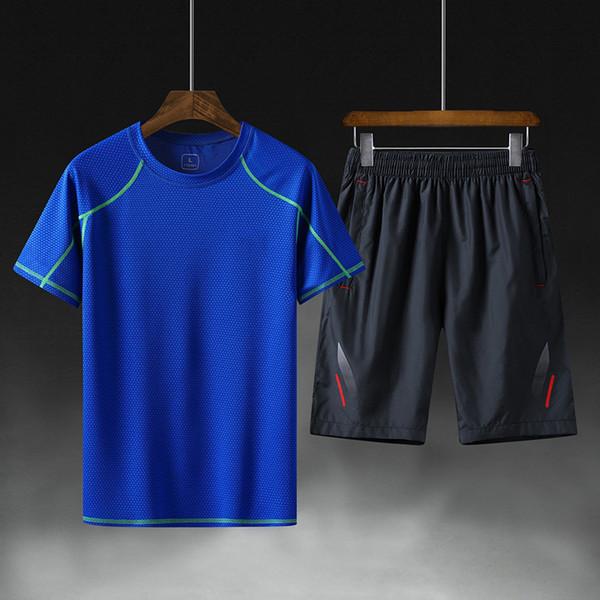 WD0711 2019 Survêtement respirant Hommes Sportswear Deux Pièces Ensemble T-shirt À Manches Courtes + Shorts