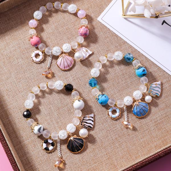 Sweet Shell Ocean Wind Ceramic Bracelet Fresh Crystal Glaze Multi-coloured Bead Jewelry Bracelet Y43