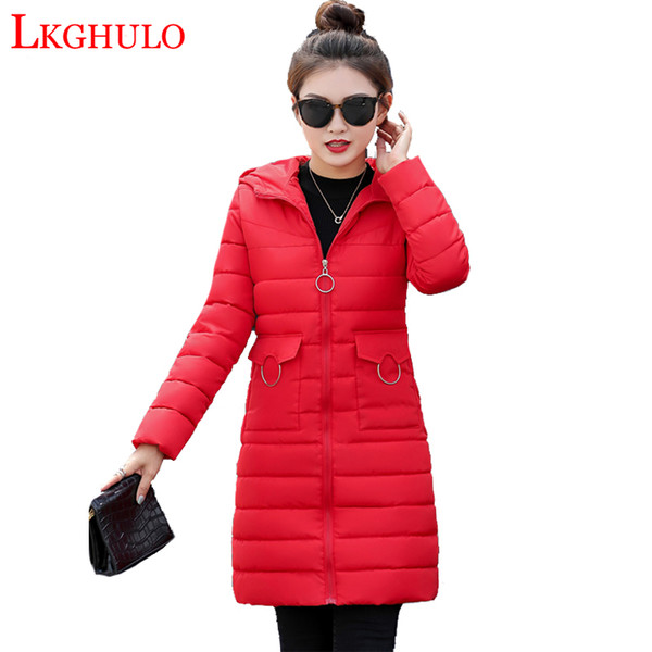 2019 зима хлопок куртка женщин парки сгущаться теплый с капюшоном топ плюс размер мода хлопок-ватник длинные пальто женский W653