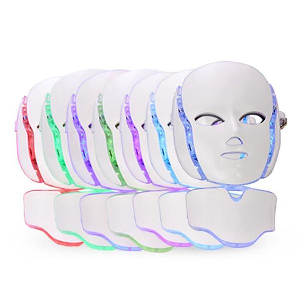 Sağlık Güzellik 7 Renkler LED Foton Yüz Boyun Maskesi PDT Işık Makinesi Cilt Bakımı Gençleştirme Için Taşınabilir Ev Kullanımı Cihazı