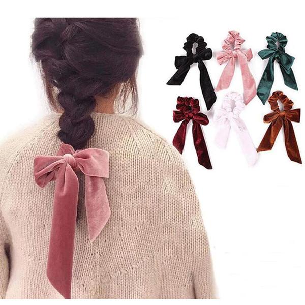 Chegada Nova Verão Scrunchies cabelo macio de veludo pano de Hairband sólido Titular Elastic cabelo Ropes Rabo Headbands Scarf