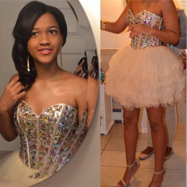 Sparkle Crystal Beaded Homecoming Dresses Lace-up Ruffles Tiered Short Prom Dress 2019 Custom Made Sweetheart Little Party Gowns