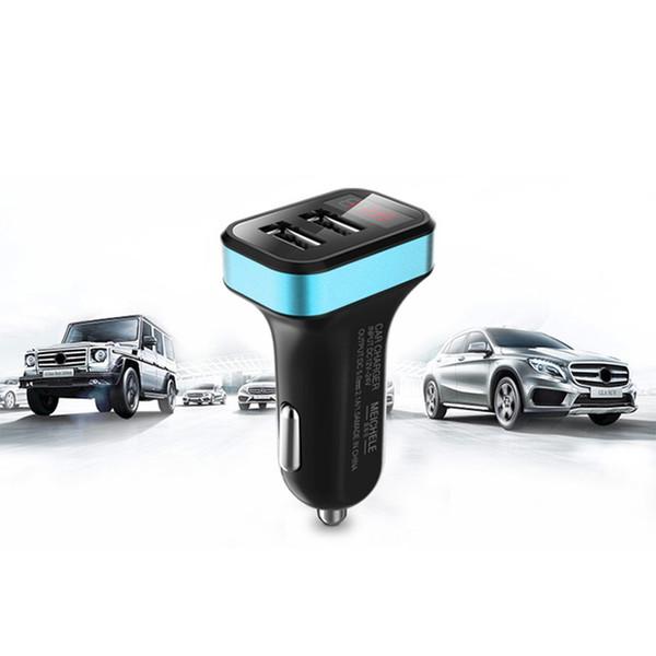 New Dual Car Charger Dual USB Port 2.1A Adaptor With Digital Voltmeter Gauge LED Voltage Display For Cigarette Lighter 12V-24V