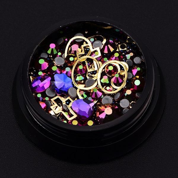 Novos ornamentos de unhas 4 cm caixa preta cor fantasma broca pontiaguda + broca de fundo plano + talão de fadas + anel de pedras preciosas 12color mix opcional 12PCS / box