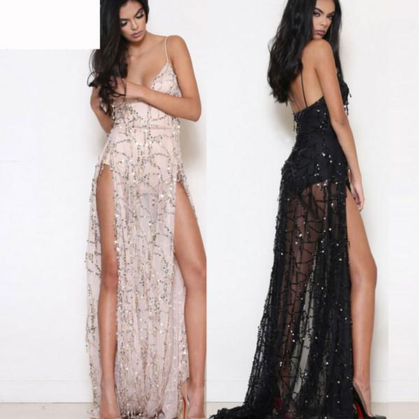 2019 Nueva moda club nocturno negro marfil lentejuelas Bling vestido de noche largo Sexy espalda abierta Split Prom vestidos de fiesta