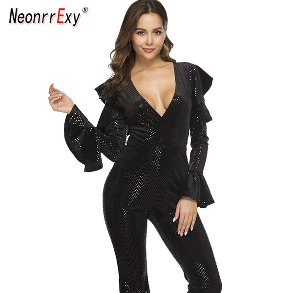 Neonrrexy Sexy Black Ruffles Sleeve One Piece Jumpsuit Women Runway Deep V Neck Skinny Jumpsuits Party Club Rompers