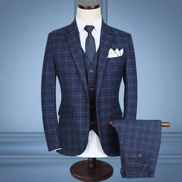 2019 CalrtyAsa Plaid Black Blue Fashion Slim Fit Men Suit Plus Size 5XL Homme Formal Wear Hot Groom Wedding Dress Suit Men