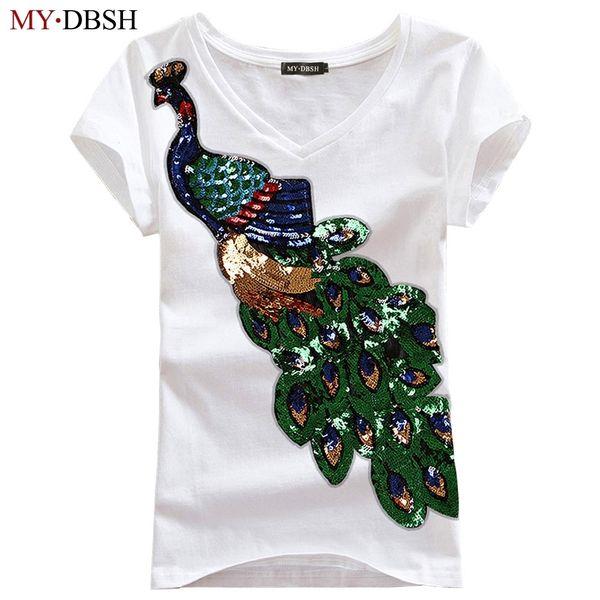 Nouveau Mode Femmes Élégant Paon O Cou T-shirt Femal Sequins Broderie T-shirt Casual Top T-shirts Plus La Taille S-4xl Livraison Gratuite Q190518