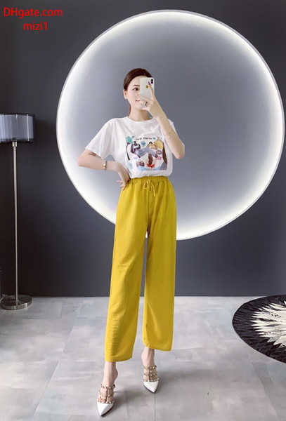 2019 summer clothes women two piece outfits women Tracksuit print short sleeve T-shirt+Yellow high waist wide-leg pants women clothes v-l