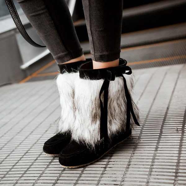 YOUYEDIAN Winter Boots Women 2019 Faux Fur Black Boots Women Slip On Ladies Shoes Casual Flot Low Heel Botines Mujer