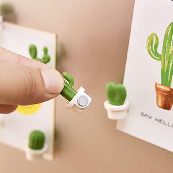 Nouveau 6pcs / set aimants pour réfrigérateur mignon plante succulente aimant bouton cactus réfrigérateur message autocollant aimant livraison gratuite