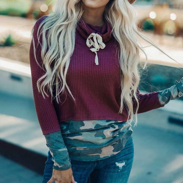 Kadınlar Bluzlar 2019 Moda Kamuflaj Patchwork Casual En Gevşek Uzun Sleevecasual Tops Artı boyutu blusas Femininas # J30 yazdır