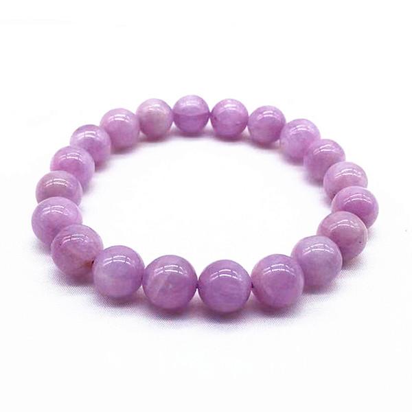Natural Kunzita Pedra contas Bangle Elastic 8 10 milímetros 12 mm Presentes Mulheres Bracelet Lavender Cor da Pedra Boa Qualidade menina por