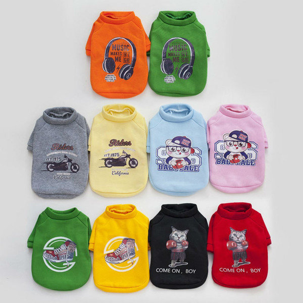 Clearance Polyester Pullover Hoodies Dog Clothes Cat Printed Pet Dog Shirt Puppy Sweater Clothes Casual wholesale Pet Supplies