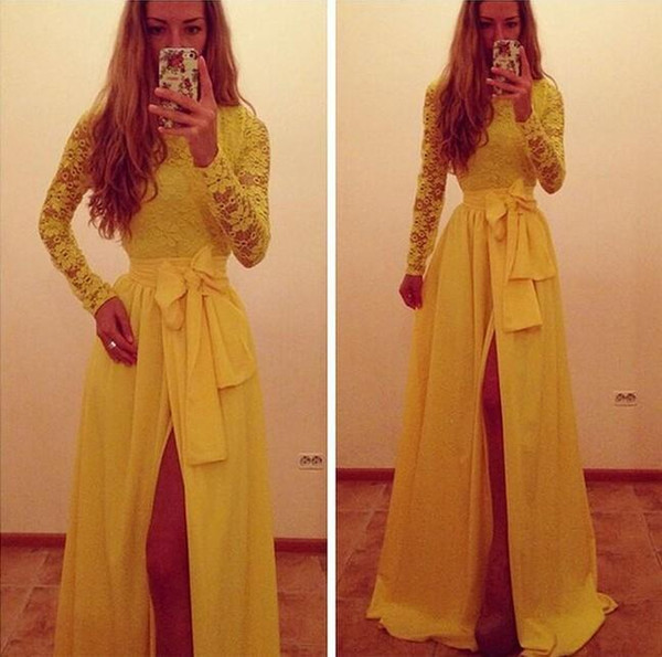 Trendy Yellow Long sleeves Evening Dresses 2019 New Formal Gowns A Line Jewel Yellow Lace and Chiffon Sexy side slit Party Prom Dresses 1139