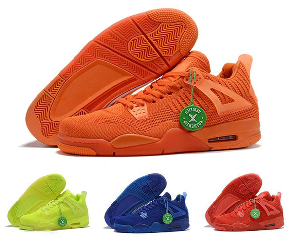 2019 Summer Jumpman 4 Total Orange Hyper Royal Blue University Red Volt Mens Basketball Shoes 4s Breathable Sports Sneakers US7-13