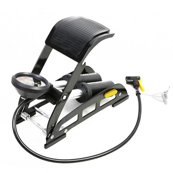 SAHOO Bicycl Bike Foot Air Pump Portable High-Pressure Steel No-Slip Bike Inflatable Air Pump with Accurate Pressure Gauge #535724