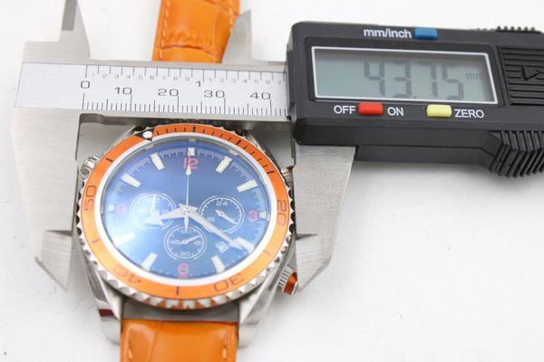 Hot Sale watch men quartz stopwatch Co-Axial planet ocean chronograph function watch orange leather belts watches men dress wristwatches