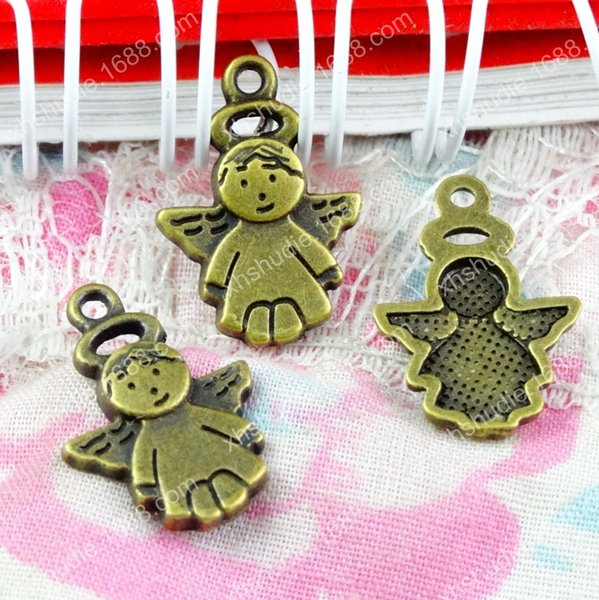 100pcs 18.5*13MM antique bronze brass fashion angel fairy charms for bracelet vintage metal pendants earring handmade DIY jewelry making