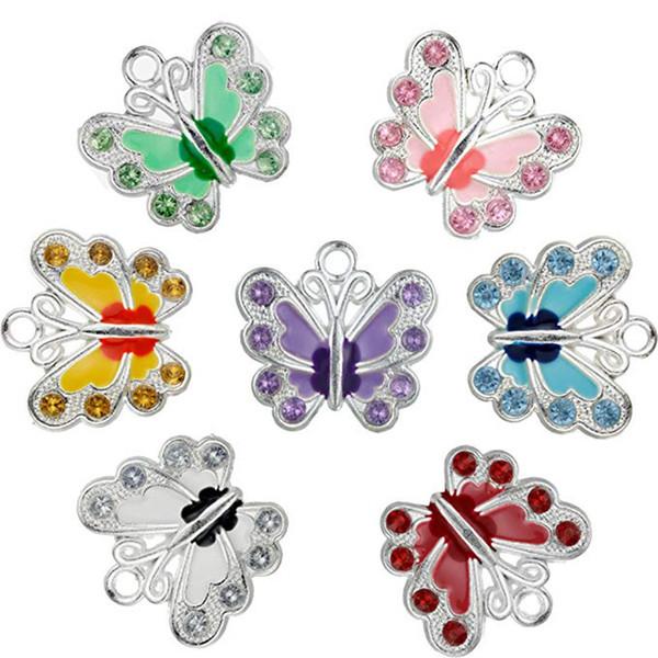 Küçük Kelebek Emaye Charm Boncuk DIY Takı Yapımı için DIY Anahtarlık Kolye Kolye Bilezik 7 Renkler Charms Bileşenler 100 adet / grup
