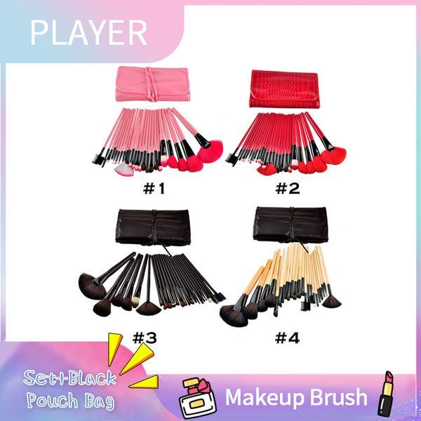 24Pcs Set di pennelli per trucco professionale + sacchetto nero sacchetto pennelli per cosmetici 4 colori manico in legno pennello sintetico kit 1 lotto = 24 pezzi