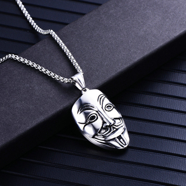 Hot Sale Stainless steel silver skull Necklace Men Punk Motorbike Necklaces & Pendants Gold Hip-hop mask Jewelry For Gift