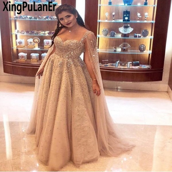 2018 Custom Made Long Luxury Crystal Beaded Dubai Prom Dresses Champagne Saudi Arabic Evening Dress Party Gowns Plus Size