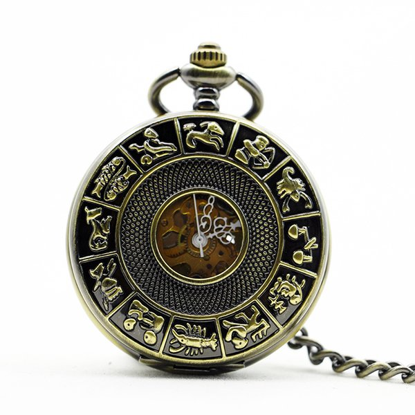 Vintage Mechanical Pocket Watch Steampunk Black Hollow Glass Case Roman Number Dial with FOB Chain Luxury Watch Men Gift