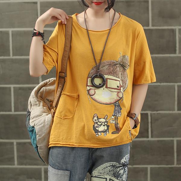 Donna Shirt Donna T-Shirts Donna modo di marca estate rappezzatura del cane del fumetto Poco Stampa Dolce slleve Lettera T shirt casual Tshirt
