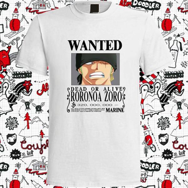 Nouveau One Piece Wanted T-Shirt Homme Blanc Roronoa Zoro Bounty Taille S à 3XL