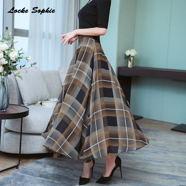 1pcs Hight waist skirts Women's Pleated skirts 2019 Summer Chiffon prints Splicing plaid full-skirted skirt Ladies Casual