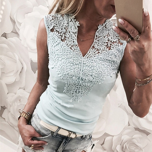 2019 New Lace Solid Stitching V-neck Camis Female Cotton Trend Tank Tops Sleeveless Slim Outer Wear Shirt Casual Tops Women