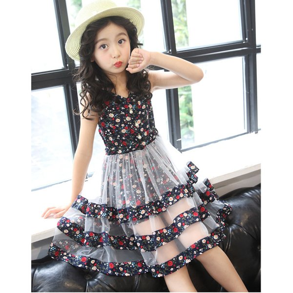 Kids girls summer dresses baby floral princess dress children patchwork mesh clothes for party and wedding girl sleeveless 4-12T
