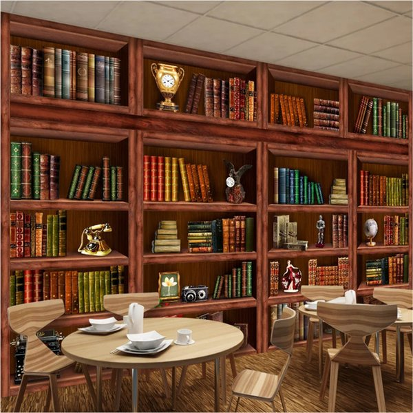 European Retro Bookshelf Bookcase 3d Photo Wallpapers For Office Study Room Mural Wall Papers Home Decor Papel De Parede 3d High Res Desktop