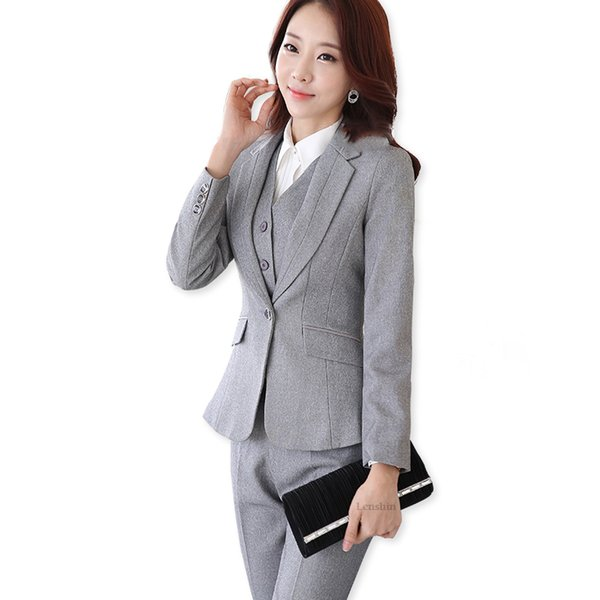 Uniform Designs Donna elegante Grigio scuro Business pantalone Suits Work Wear Giacca con pantaloni Set da 2 pezzi