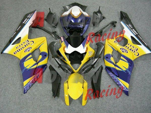 3Gifts Nuevo kit de carenados de motocicleta ABS Moldeo por inyección Ajuste para Suzuki GSXR1000 K5 2005 2006 05 06 GSX-R1000 kits de carenado corona azul personalizado