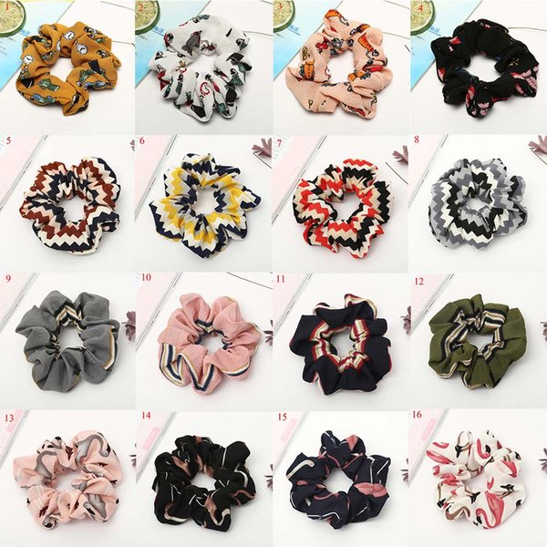 best selling Random color Floral Flamingo Solid Houndstooth Design Women Hair Tie Accesorios Scrunchie Ponytail Hair Holder Rope scrunchy basic Hair band