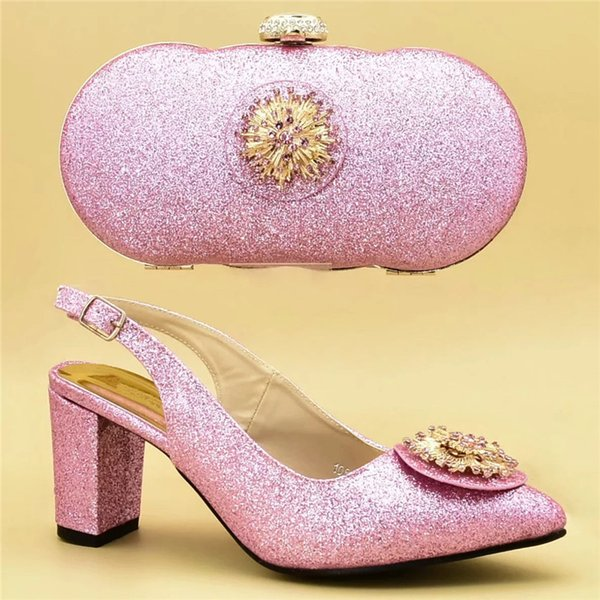 New Arrival Italian Shoes with Matching Bags for Wedding Italy Nigerian Women Wedding Shoes Decorated with Appliques
