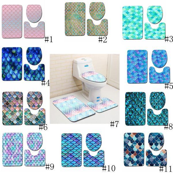 Scala di pesci stampato tappetini da bagno 3pcs / set antiscivolo bagno tappetini igienici copertina bagno tappeto Tappeti Mat 11 stili GGA2232