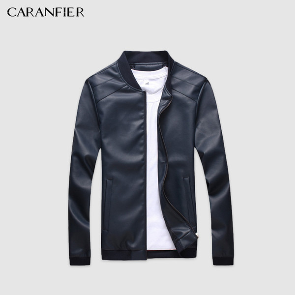 CARANFIER Mens Leather Jackets Men PU Faux Spring Fall Thin Coats Biker Punk Motorcycle Male Classic Jacket Stand Collar Zippers D19011001