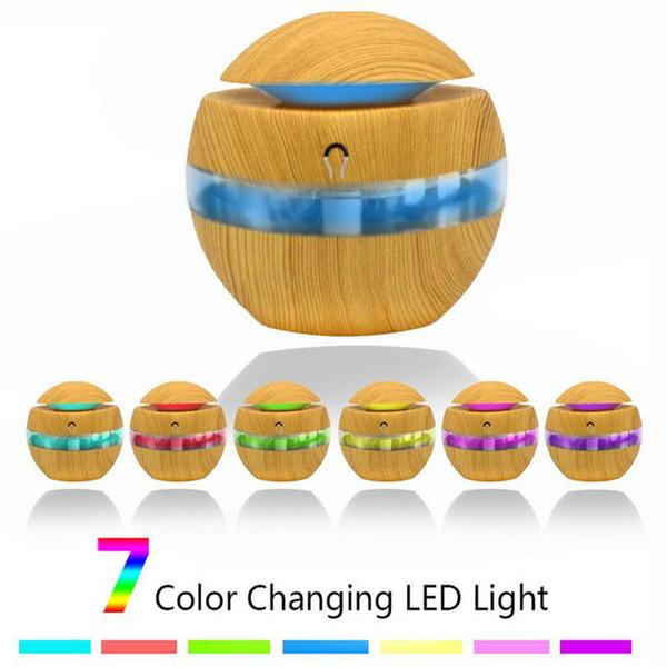 300ml Aroma Air Umidificatore venatura del legno con RGB 7 colori LED luci Olio Essenziale Diffusore Aromaterapia Mist Maker elettrico per Home office